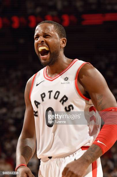 Miles of the Toronto Raptors reacts during the game against the Washington Wizards in Game One of Round One of the 2018 NBA Playoffs on April 14 2018...