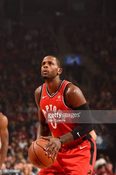 Miles of the Toronto Raptors shoots a free throw against the Cleveland Cavaliers on October 17 2018 at Scotiabank Arena in Toronto Ontario Canada...