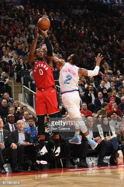 Miles of the Toronto Raptors shoots the ball against the Miami Heat on February 13 2018 at the Air Canada Centre in Toronto Ontario Canada NOTE TO...