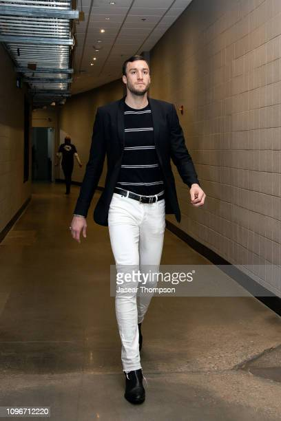 Miles Plumlee of the Atlanta Hawks arrives before the game against the Charlotte Hornets on February 9 2019 at State Farm Arena in Atlanta Georgia...