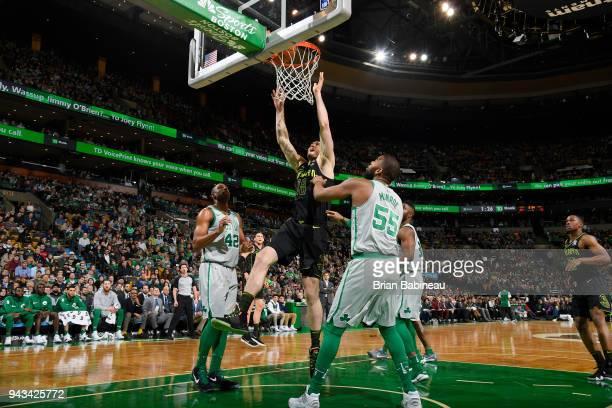 Miles Plumlee of the Atlanta Hawks dunks against the Boston Celtics on April 8 2018 at the TD Garden in Boston Massachusetts NOTE TO USER User...