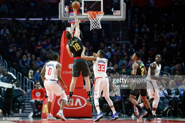 Miles Plumlee of the Atlanta Hawks goes to the basket against the LA Clippers on January 8 2018 at STAPLES Center in Los Angeles California NOTE TO...