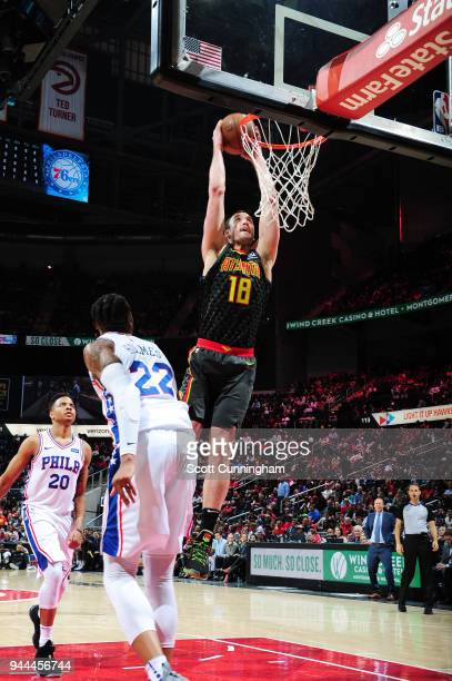 Miles Plumlee of the Atlanta Hawks goes up for a dunk against the Philadelphia 76ers on April 10 2018 at Philips Arena in Atlanta Georgia NOTE TO...