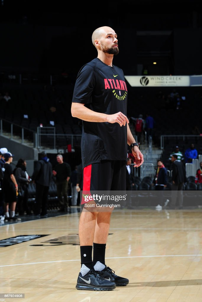 Miles Plumlee #18 of the Atlanta Hawks looks on before the game against the Milwaukee Bucks on October 29, 2017 at Philips Arena in Atlanta, Georgia.