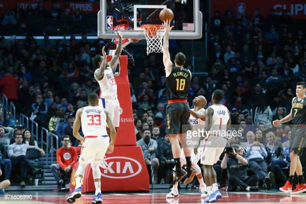 Miles Plumlee of the Atlanta Hawks shoots the ball against the LA Clippers on January 8 2018 at STAPLES Center in Los Angeles California NOTE TO USER...