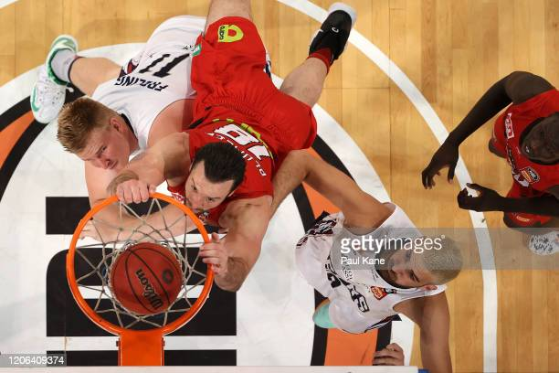 Miles Plumlee of the Wildcats dunks the ball during the round 20 NBL match between the Perth Wildcats and Adelaide 36ers at RAC Arena on February 15,...