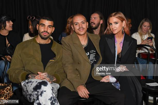 Miles Richie, Evan Ross and Ashlee Simpson attend Baja East FW20 Los Angeles runway show at Sunset at EDITION on February 07, 2020 in West Hollywood,...