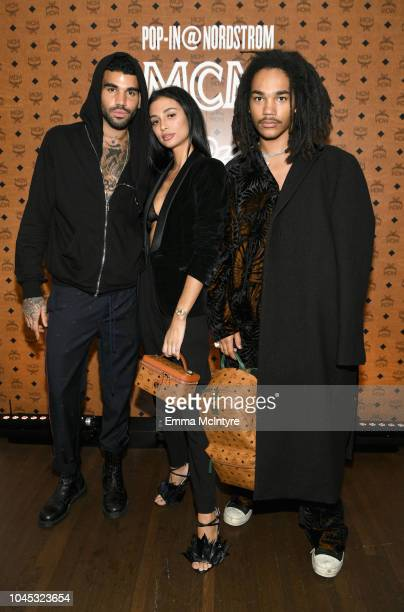 Miles Richie, Kristen Noel Crawley and Luka Sabbat attend Pop-In@Nordstrom MCM at Chateau Marmont on October 3, 2018 in Los Angeles, California.
