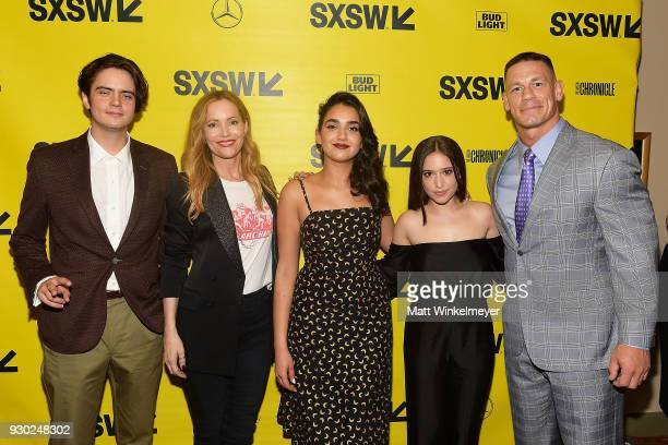 Miles Robbins Kay Cannon John Cena Leslie Mann Geraldine Viswanathan Gideon Adlon and John Cena attend the Blockers Premiere 2018 SXSW Conference and...