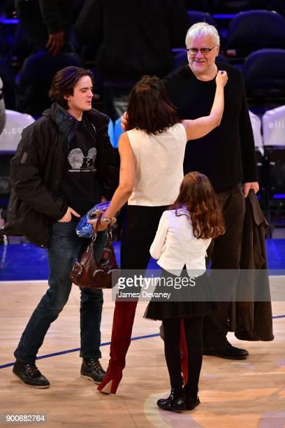 Miles Robbins Padma Lakshmi Krishna LakshmiDell and Tim Robbins attend the New York Knicks Vs San Antonio Spurs game at Madison Square Garden on...