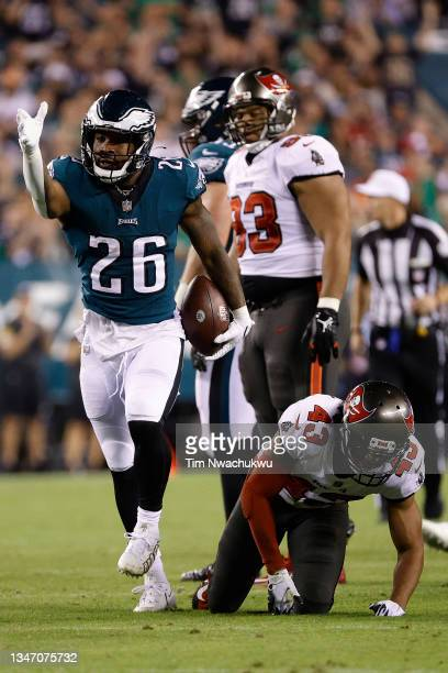 Miles Sanders of the Philadelphia Eagles celebrates a first down against the Tampa Bay Buccaneers at Lincoln Financial Field on October 14, 2021 in...