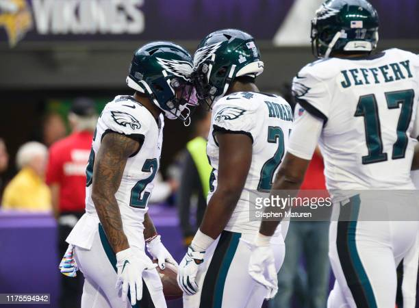 Miles Sanders of the Philadelphia Eagles celebrates with Jordan Howard after catching a 32 yard touchdown pass in the second quarter of the game...