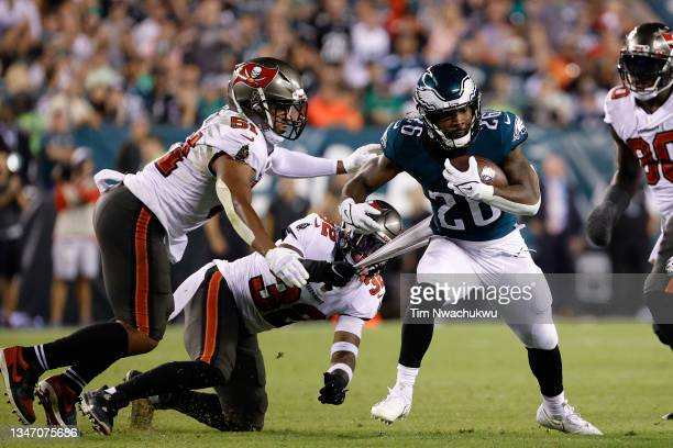 Miles Sanders of the Philadelphia Eagles rushes the ball against the Tampa Bay Buccaneers at Lincoln Financial Field on October 14, 2021 in...
