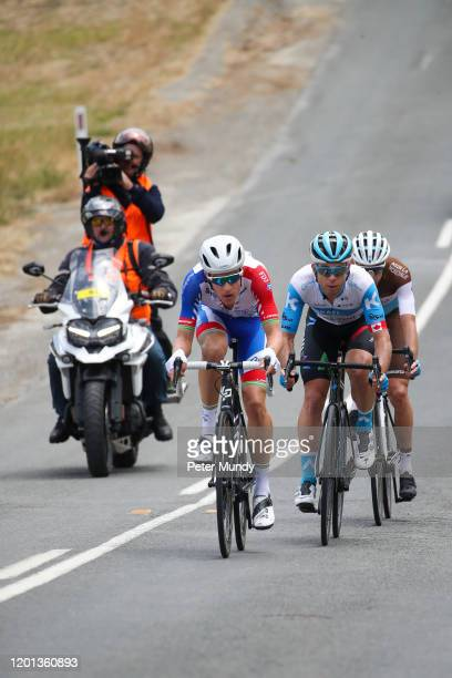 Miles Scotson of Australia and Equipe Cycliste Groupama-FDJ, Guillaume Boivin of Canada and Israel Start-Up Nation and Geoffrey Bouchard of France...