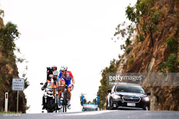 Miles Scotson of Australia and Team Groupama-FDJ / Guillaume Boivin of Canada and Team Israel Start-Up Nation / Geoffrey Bouchard of France and Team...
