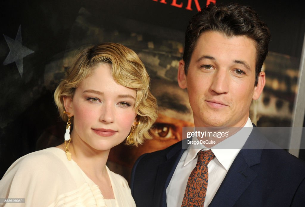 Miles Teller and Haley Bennett arrive at the premiere of DreamWorks Pictures and Universal Pictures' 'Thank You For Your Service' at Regal LA Live Stadium 14 on October 23, 2017 in Los Angeles, California.