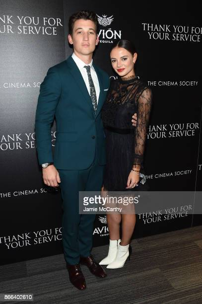 Miles Teller and Keleigh Sperry attend a screening of DreamWorks and Universal Pictures' Thank You for Your Service hosted by The Cinema Society at...