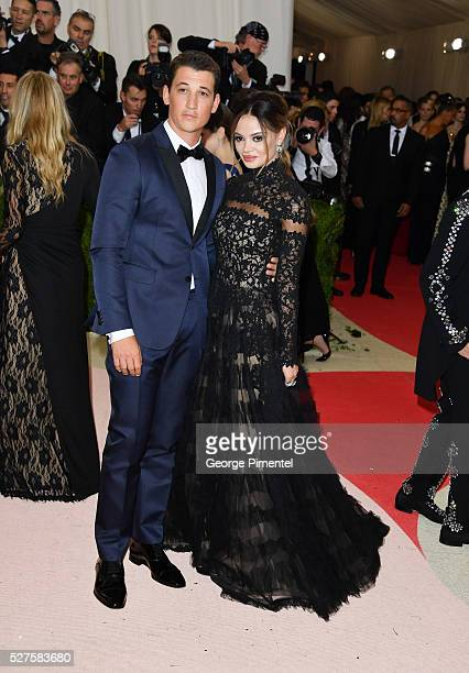 Miles Teller and Keleigh Sperry attend the 'Manus x Machina: Fashion in an Age of Technology' Costume Institute Gala at the Metropolitan Museum of...