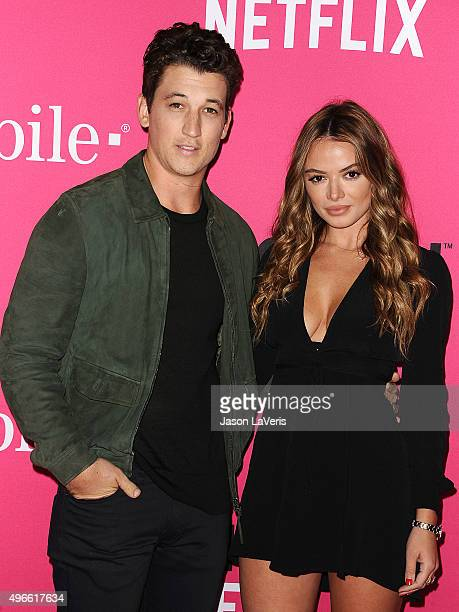 Miles Teller and Keleigh Sperry attend the TMobile Uncarrier X launch at The Shrine Auditorium on November 10 2015 in Los Angeles California