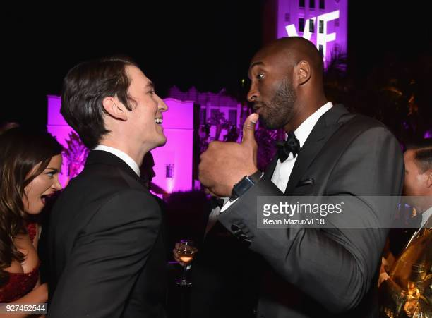 Miles Teller and Kobe Bryant attend the 2018 Vanity Fair Oscar Party hosted by Radhika Jones at Wallis Annenberg Center for the Performing Arts on...