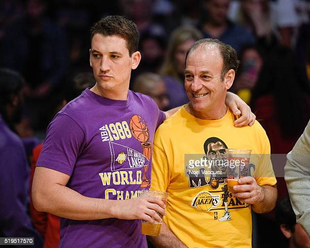 Miles Teller and Mike Teller attend a basketball game between the Los Angeles Clippers and the Los Angeles Lakers at Staples Center on April 6 2016...