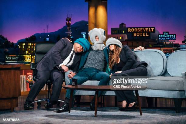 Miles Teller and Whitney Cummings chat with James Corden during 'The Late Late Show with James Corden' Monday October 30 2017 On The CBS Television...