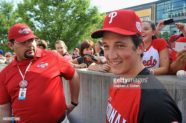 Miles Teller attends the 2015 MLB AllStar Legends And Celebrity Softball Game at Great American Ball Park on July 12 2015 in Cincinnati Ohio