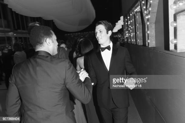 Miles Teller attends the 2018 Vanity Fair Oscar Party hosted by Radhika Jones at Wallis Annenberg Center for the Performing Arts on March 4 2018 in...