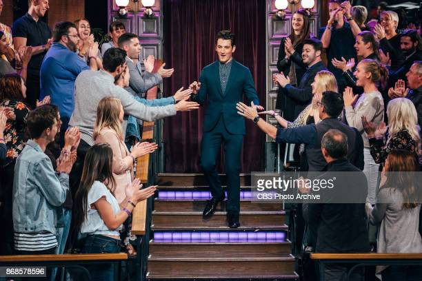 Miles Teller greets the audience during The Late Late Show with James Corden Monday October 30 2017 On The CBS Television Network