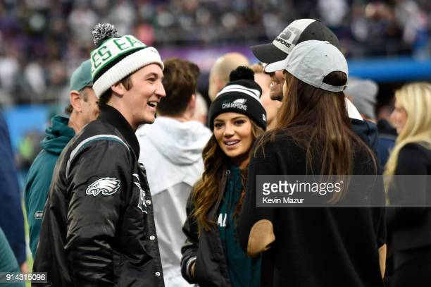 Miles Teller Keleigh Sperry Bradley Cooper and Irina Shayk attend the Super Bowl LII Pregame show at US Bank Stadium on February 4 2018 in...
