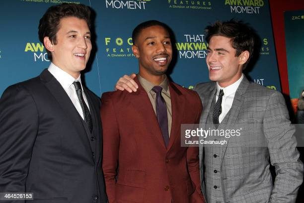Miles Teller Michael B Jordan and Zac Efron attend the 'That Awkward Moment' screening at Sunshine Landmark on January 22 2014 in New York City