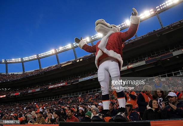 Miles the mascot of the Denver Broncos supports the team against the Cleveland Brownsat Sports Authority Field at Mile High on December 23 2012 in...