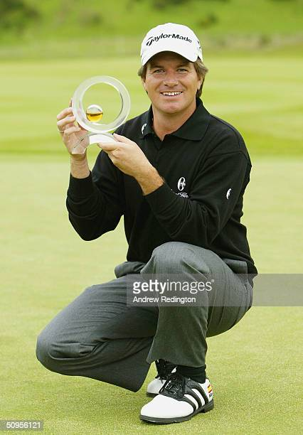 Miles Tunnicliff of England poses with the trophy after his victory in the Diageo Championship at Gleneagles on June 13 Gleneagles Scotland