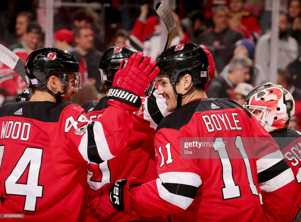 size 40 94a8d ecf67 Miles Wood and Brian Boyle of the New Jersey Devils ...