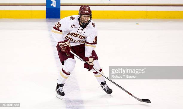 Miles Wood of the Boston College Eagles yells for a pass against the Providence College Friars during NCAA hockey at Kelley Rink on January 8 2016 in...