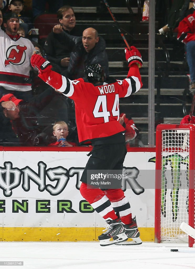 Miles Wood of the New Jersey Devils celebrates after scoring