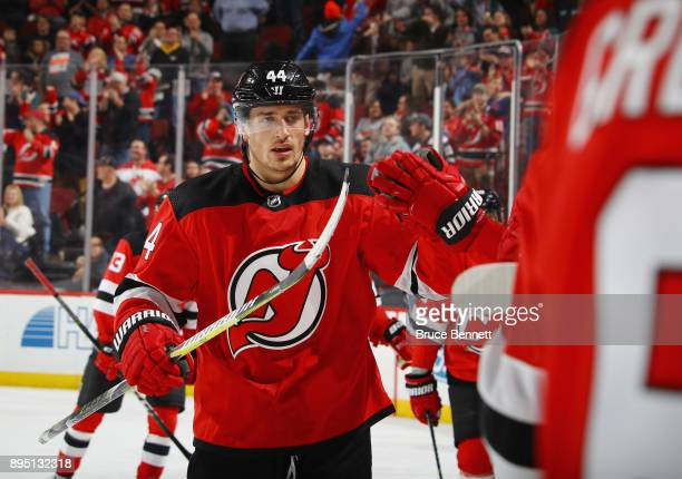Miles Wood of the New Jersey Devils celebrates his powerplay goal at 811 of the second period against the Anaheim Ducks at the Prudential Center on...