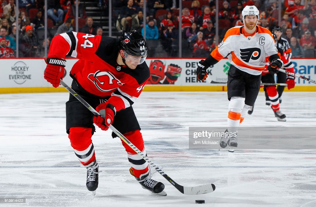 huge discount 3b0d9 f3cfe Miles Wood of the New Jersey Devils in action against the ...