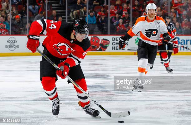 Miles Wood of the New Jersey Devils in action against the Philadelphia Flyers on February 1 2018 at Prudential Center in Newark New Jersey The Devils...
