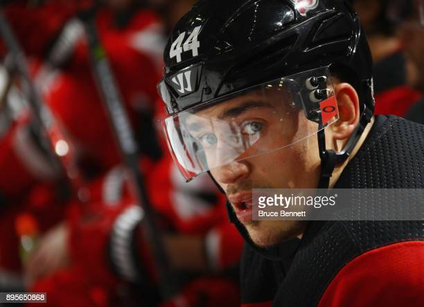 Miles Wood of the New Jersey Devils prepares to skate against the Anaheim Ducks at the Prudential Center on December 18 2017 in Newark New Jersey The...