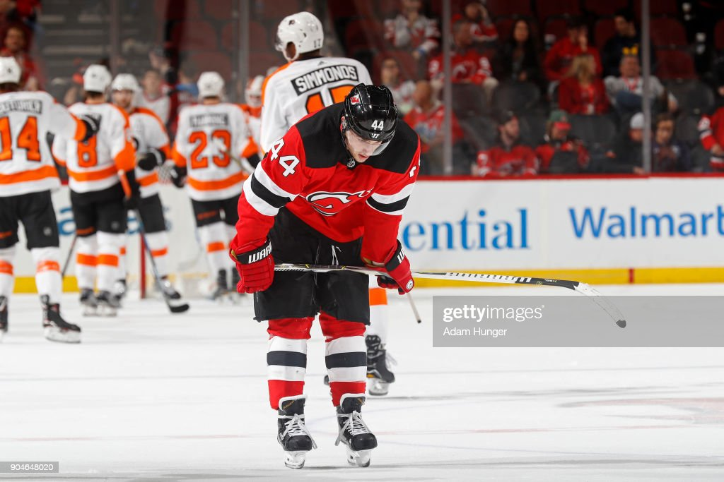 Miles Wood #44 of the New Jersey Devils reacts after losing to the Philadelphia Flyers at the Prudential Center on January 13, 2018 in Newark, New Jersey. The Flyers won 5-3.