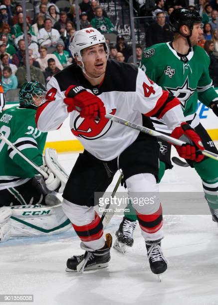 Miles Wood of the New Jersey Devils skates against the Dallas Stars at the American Airlines Center on January 4 2018 in Dallas Texas