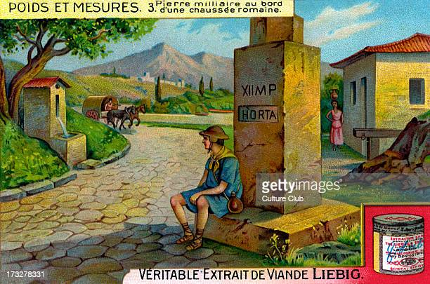 Milestone on a Roman road Illustration from Liebig collectible card series 'Weights and Measures' 3/6