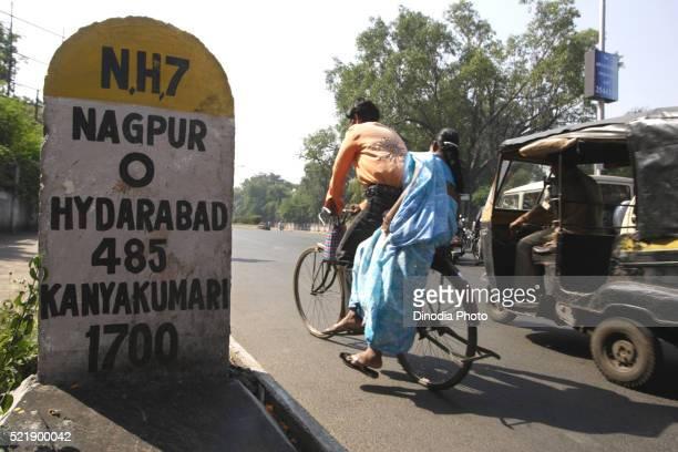 Milestone showing zero mile on national highway, Nagpur, Maharashtra, India