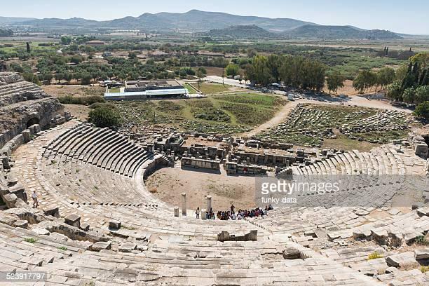 miletus ancient city amphitheater - priene stock photos and pictures