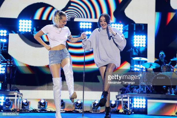 Miley and Noah Cyrus perform on stage during the iHeartSummer '17 Weekend by ATT at Fontainebleau Miami Beach on June 10 2017 in Miami Beach Florida