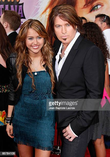 Miley Cyrus and Billy Ray Cyrus arrives at the Los Angeles premiere of Hannah Montana The Movie at the El Capitan Theatre on April 2 2009 in...