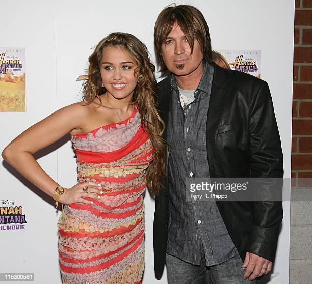 Miley Cyrus and Billy Ray Cyrus attend the 'Hannah Montana The Movie' screening at the Regal Cinema on April 9 2009 in Nashville Tennessee