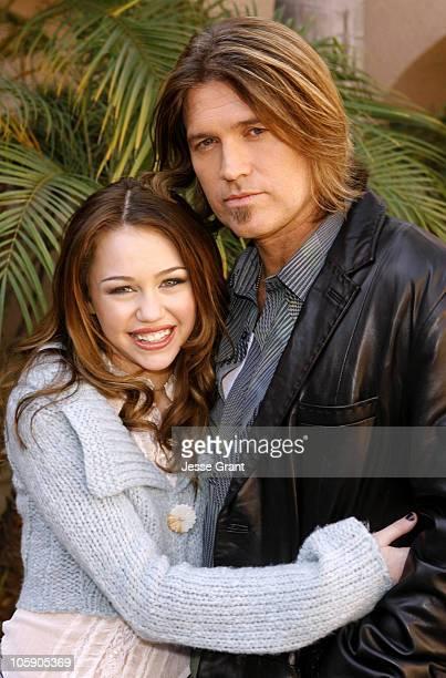 Miley Cyrus and Billy Ray Cyrus during Stars of Disney Channel's 'Hannah Montana' Meet the Press at Ritz Carlton Huntington Hotel in Pasadena...