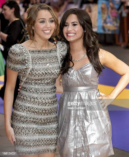Miley Cyrus And Demi Lovato Arriving At The Uk Film Premiere Of 'Hannah Montana' At The Odeon Leicester Square, London.